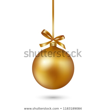 Stock photo: Red ornaments and gold ribbon