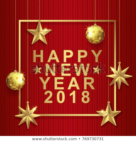 vector happy new year 2018 illustration with shiny golden typography design and ornamental balls on stock photo © articular