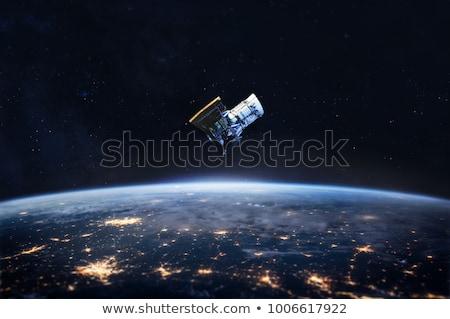 Satelitarnej ciemne przestrzeni ilustracja krajobraz technologii Zdjęcia stock © bluering