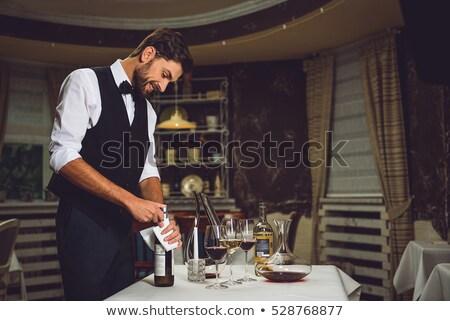 официант открытие бутылку вина таблице женщину продовольствие Сток-фото © IS2