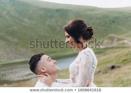 Foto stock: Recém-casados · campo · terno · feminino · sorridente