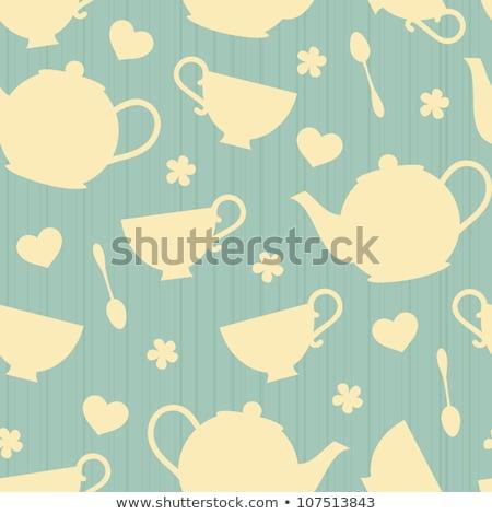 Végtelen minta tea konyha sziluett reggeli minta Stock fotó © gladiolus