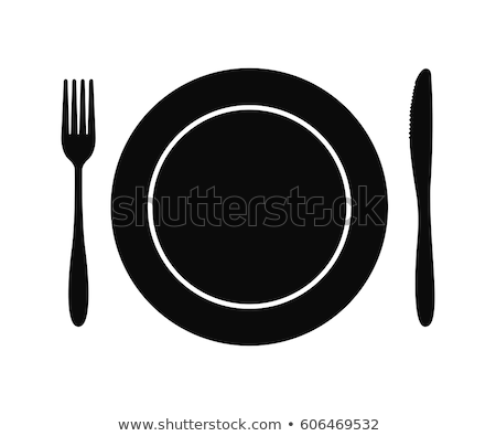 Stock photo: Fork and knife with plates set
