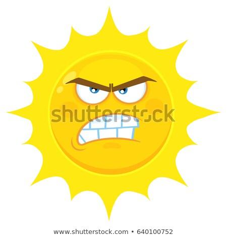 Colère jaune soleil cartoon visage personnage Photo stock © hittoon