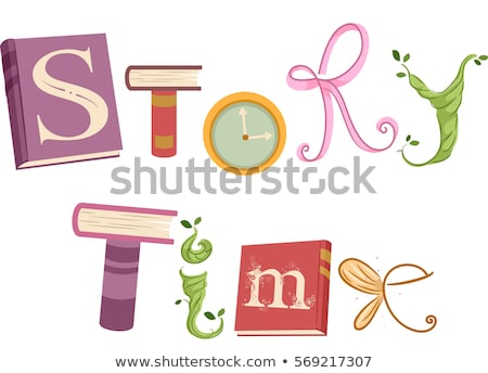 Book Story Time Lettering Clock Stock photo © lenm