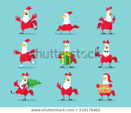 Sevimli kırmızı horoz kuş karikatür maskot karakter Stok fotoğraf © hittoon