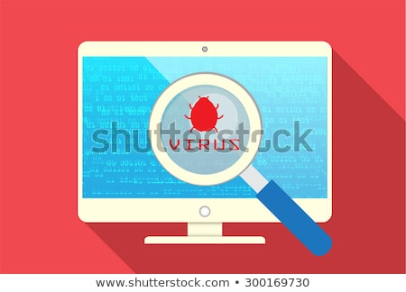 Magnifying Glass scanning and identifying a computer code. Anti virus protection and computer securi Stock photo © kyryloff