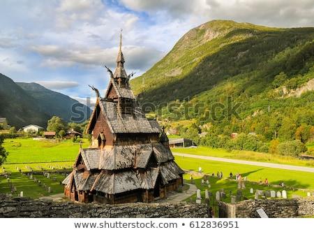 Kilise Norveç korunmuş kereste binalar not Stok fotoğraf © Kotenko