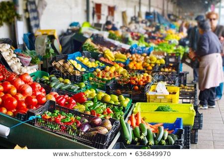 Boeren markt Portugal verse groenten vruchten voedsel Stockfoto © joyr