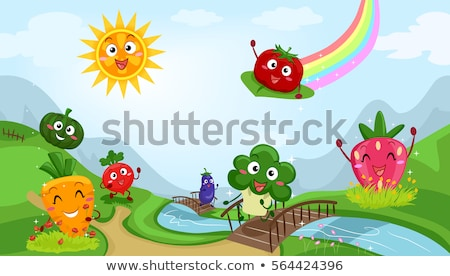 Fruits Veggies Mascots Community Stock photo © lenm