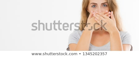 Shhh Silent Hand Sign T-Shirt Design Template stock photo © SaqibStudio