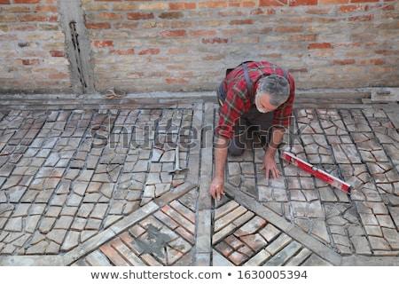 Pavement or terrace making, using recycling materials Stock photo © simazoran