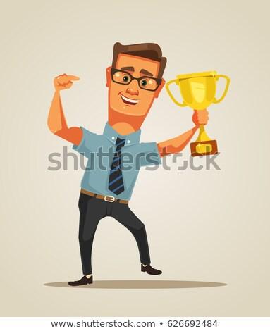Cartoon hombre trofeo ilustración golf Foto stock © bennerdesign