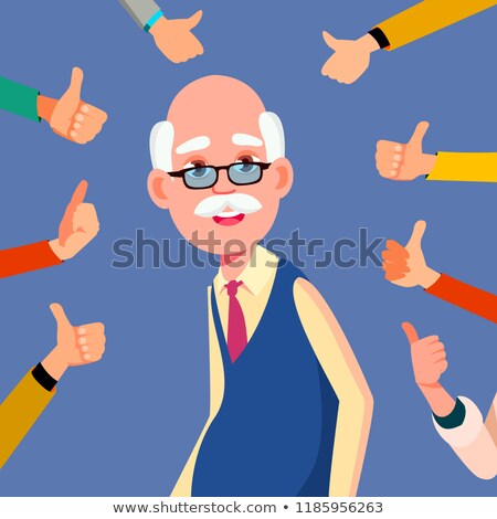 Thumbs Up Old Man Vector. Public Respect. Business Illustration Stock photo © pikepicture