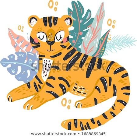 Cartoon tigre ilustración gato animales Foto stock © cthoman