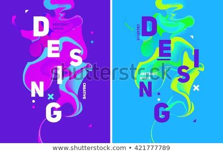Colorful flow design. Trending wave liquid vector illustration on blue Stock photo © m_pavlov