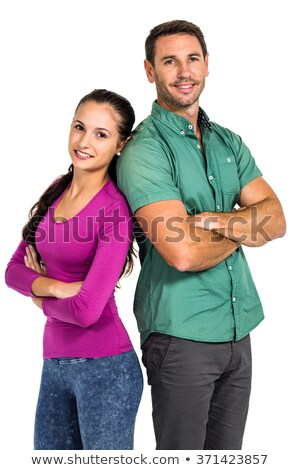 Stok fotoğraf: Romantic Peaceful Couple Standing Back To Back On White Background