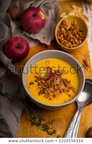 cheddar apple butternut squash soup.style rustic Stock photo © zoryanchik