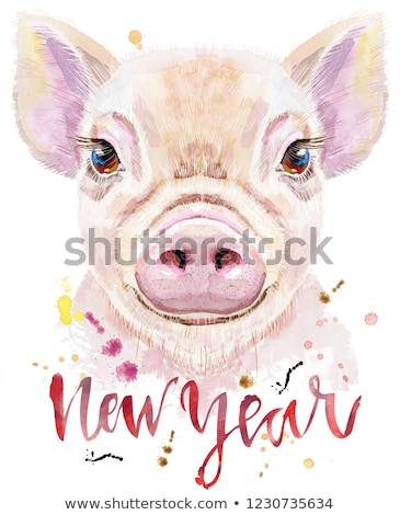 Watercolor portrait of mini pig with the inscription New Year Stock photo © Natalia_1947