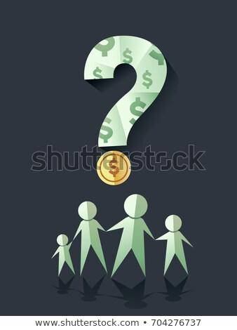 Family Dollar Bill Coin Question Illustration Stock photo © lenm