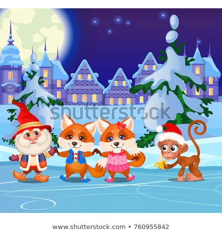 Funny fox and animated gnome on the ice rink tonight. Sports entertainment winter playground in the  Stock photo © Lady-Luck