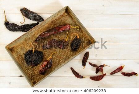 Aszalt mexikói Chile paprikák egész étel Stock fotó © maxsol7