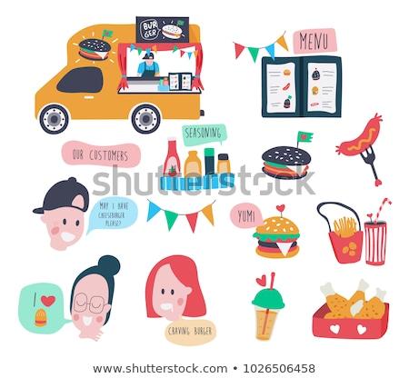 Bebida sin alcohol chips carteles establecer de comida rápida frío Foto stock © robuart