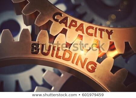 3d render engrenagem capacidade edifício 3D Foto stock © nasirkhan