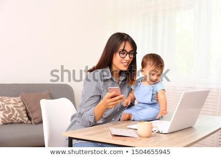 Stock fotó: Boldog · anya · baba · laptop · dolgozik · otthon