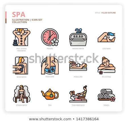 hot stone and foot massage posters set vector stock photo © robuart