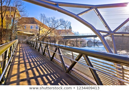 City of Graz Mur river waterfront and Murinsel view Stock photo © xbrchx