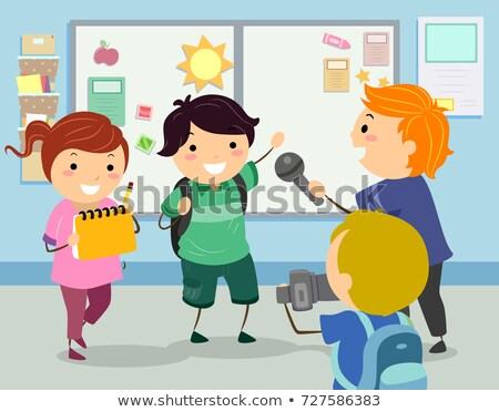 Stickman Kids Interview School Illustration Stock photo © lenm