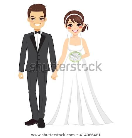 漫画 · 笑みを浮かべて · 花嫁 · 少女 · 子供 · ドレス - ストックフォト © cthoman