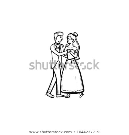 esküvő · tánc · menyasszony · vőlegény · pop · art · retro - stock fotó © rastudio