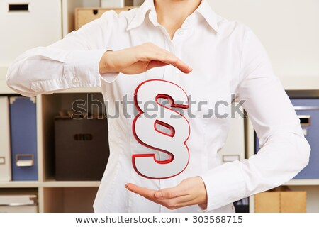 Woman's Hand Protecting Red Paragraph Stock photo © AndreyPopov