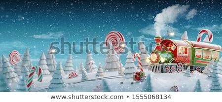 Christmas trein nacht illustratie landschap achtergrond Stockfoto © colematt