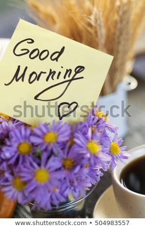Caneca de café buquê flores lavanda notas bom dia Foto stock © Illia