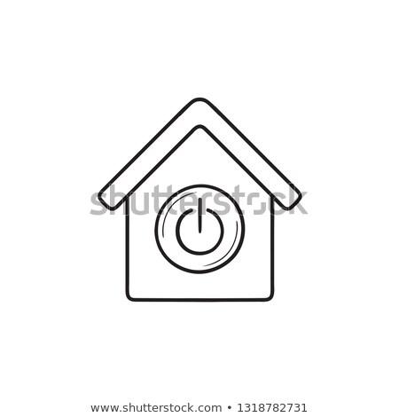 okos · ház · kapcsoló · gomb · kézzel · rajzolt · skicc - stock fotó © RAStudio