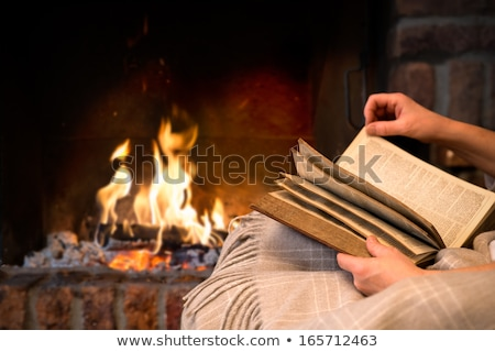 Fireplace by Woman Sitting on Blanket Reading Book Stock photo © robuart