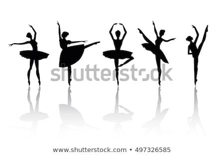 Silhouet balletdanser dansen pose positie vrouw Stockfoto © Krisdog