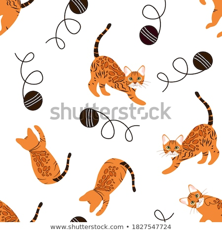 seamless pattern with cute cartoon cats on orange background funny kittens stock photo © natali_brill