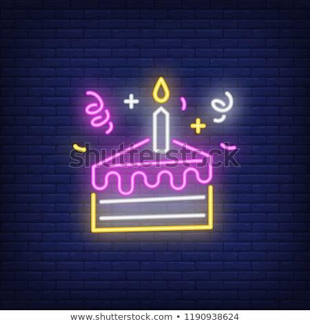 Kek neon reklam imzalamak vektör ışık Stok fotoğraf © balasoiu