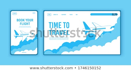 Landing page design, banner with flying airliner in sky with clouds, passenger aircraft, plane, tour Stock photo © MarySan