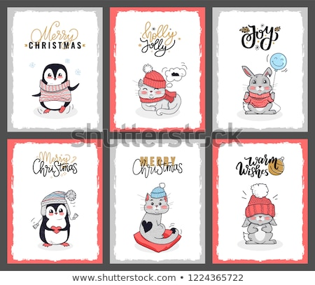 Set of Cartoon Animals with Lettering Wishes Stock photo © robuart