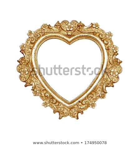 Eski altın kalp şekli resim çerçevesi model Stok fotoğraf © adamr