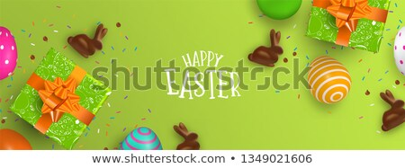 Photo stock: Easter Banner Of Chocolate Bunny And Color Eggs
