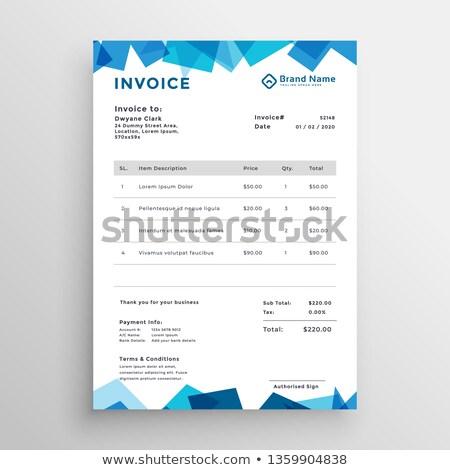 abstract blue stylish invoice template Stock photo © SArts
