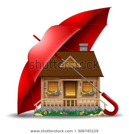 家 コテージ 傘 不動産 保険 アイソメトリック ストックフォト © orensila