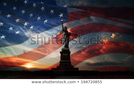 american flag and statue of liberty stock photo © colematt