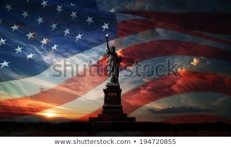 Amerikan bayrağı heykel özgürlük örnek kadın arka plan Stok fotoğraf © colematt